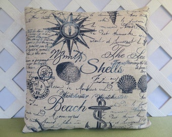 Beach Theme Pillow Cover in Blue and Ivory / Nautical Pillow / Blue Ivory Pillow / Seashell Pillow / Accent Pillow / 18 x 18 Pillow