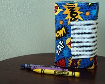 Crayon Wallet - Crayon Holder - Super Hero Words - Back to School - Boy Gift - Boy Christmas Gift - Stocking Stuffer