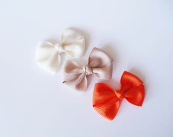 Small Hair Bows - Ivory, Tan, Orange - One Size Nylon Headbands - Mini Pig Tail Bow Hair Clips - Satin or Grosgrain - You Pick Color
