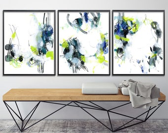 Set of 3 Giclee Prints from Abstract Paintings acrylic contemporary art green blue black modern 8x10 or 11x14