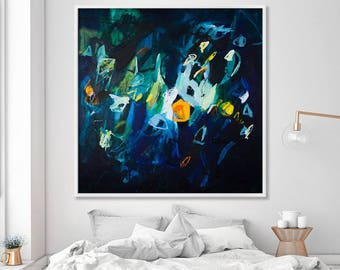 Large Print of Abstract Painting, Large Wall Art, huge giclee navy blue mid century modern art, blue painting Sparkles