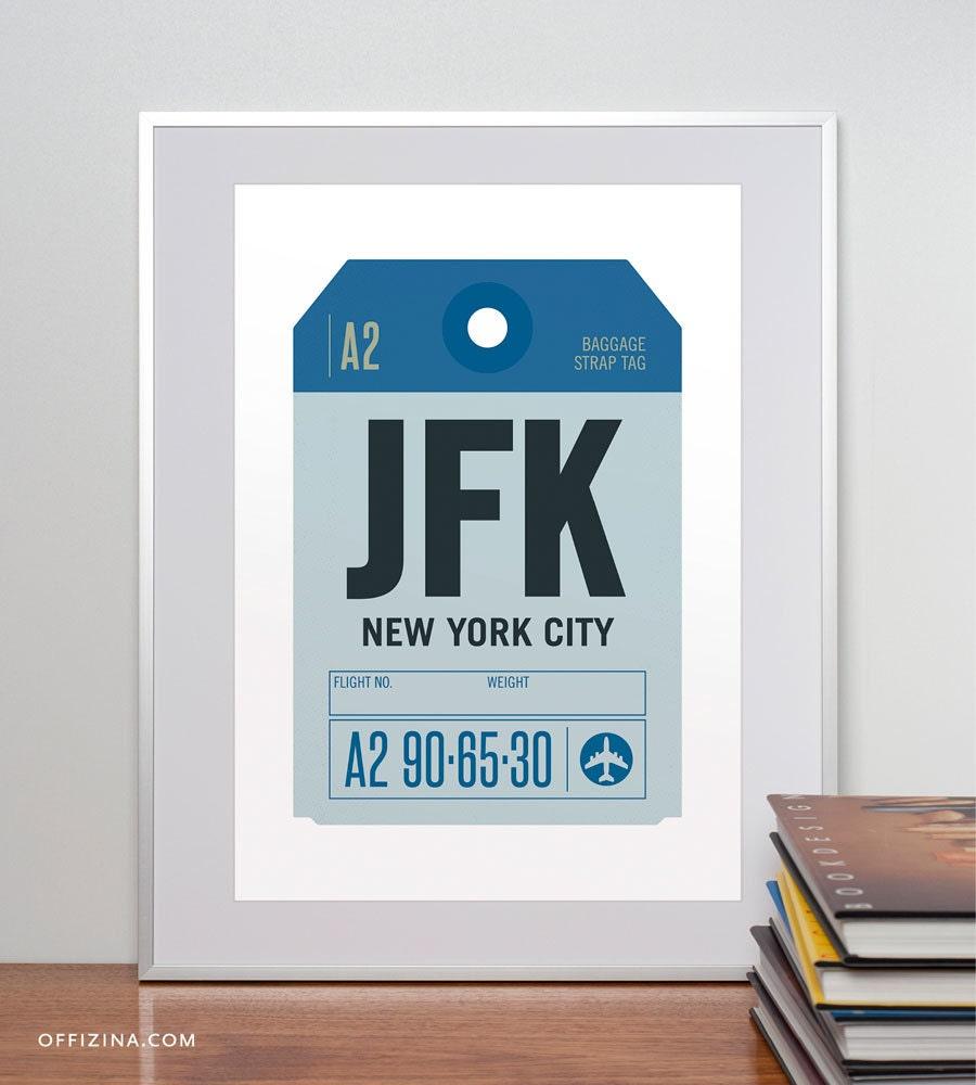 Jfk Airport New York City Ny Luggage Tag Poster Baggage