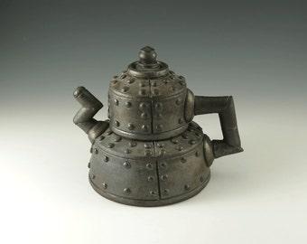 Handmade Ceramic Teapot, Wheel Thrown Pottery Collectors Teapot, Industrial Metal Series, Functional Ceramic Art,Fine Art Ceramics, MS105