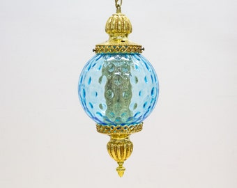 Cinderella Swag Lamp, Vintage Lighting, Blue and Gold Bubble Globe