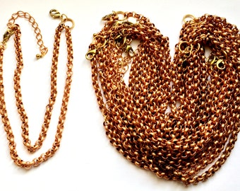 Vintage Rolo Chain, Copper Coated Chain, Double 10 Inch with Clasps, Ready for Your Design, U S Made, Nickel Free, Item0646