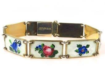 Theodore Olsen Eftf Guilloche Enamel Sterling Silver Bracelet|1950s Norway Sterling Silver | 9 Enameled Panels Unique Floral Designs