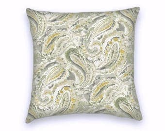 Grey Yellow Green Paisley Decorative Throw Pillow-18x18 or 20x20 or 22x22- Pillow Cover- Accent Pillow