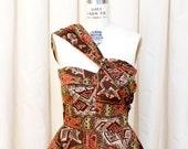 EMERGENCY SALE 1950s Dress // Novelty Tiki Cat Print Full Skirt Dress with Asymmetrical Strap by Marjae of Miami