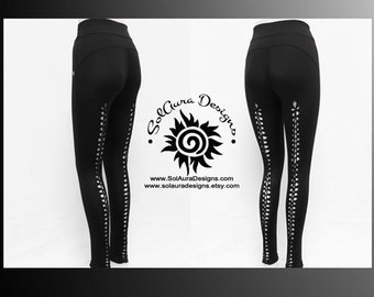 "Junior / Women Non-See Through Wide Waist Band Black Leggings "" THE CUT"" Cut and Weaved Leggings, Yoga, Festival, and Aerial Wear L-3005"