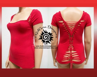 LADY IN RED - Plus Size - Juniors / Womens Cut and Weaved Red Top, Yoga Wear, Beach Wear, Club Wear, Festival Wear