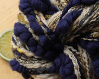 Sandcastle - Merino Wool Handspun Coiled Art Yarn Yellow Blue Gold