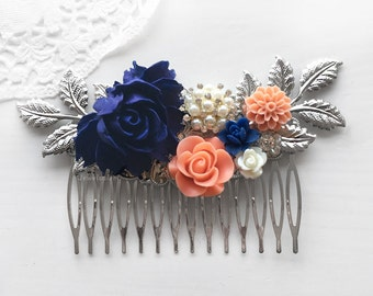 Navy Blue Coral Wedding Comb, Silver Leaf Bridal Hair Slide, White Sapphire Flower Hair Clip, Pearl, Rhinestone Crystals
