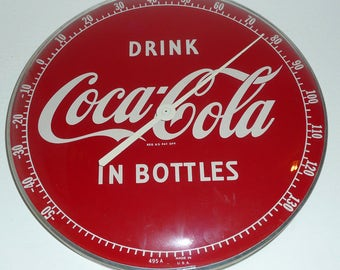 Drink Coca Cola In Bottles Thermometer Vintage 1950's Coke Soda Pop Sign Display Collectable Advertising