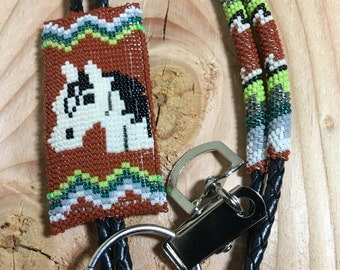 Horse beaded lanyard, beaded horse brown lanyard, beaded name tag lanyard, white horse lanyard