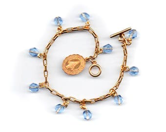 Miraculous Medal 10K gold wearable single decade rosary with 10 vintage virgin blue crystals on a gold plated bracelet, 7-3/4 inches