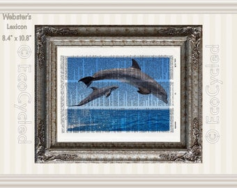 Two Dolphins Jumping and Swimming on Vintage Upcycled Dictionary Art Print Book Art Print Recycled Repurposed Ocean Sea Mammal cetaceans