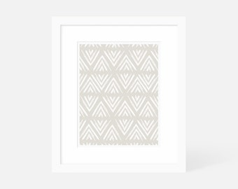 Neutral Modern Art / Minimalist Geometric Art Print / Large Vertical Wall Art / Matted and Framed / 18x24 16x20 11x14 8x10 5x7