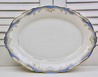 Vintage Syracuse China Carvel Oval Serving Platter 12 Inch Blue Cream Gold #300