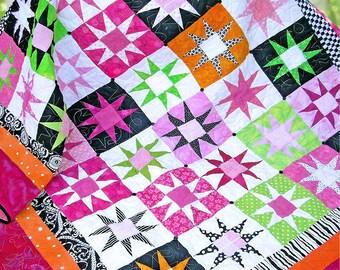 POP STARS | pdf Quilt Pattern | Modern Quilts | Patterns | Quilt Patterns | Modern | Star Quilts | Teenage Quilts | Pieced Quilts | Quilts