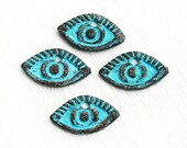 Evil Eye charms, green Patina on copper, Verdigris, Boho charms, Greek beads, 17x10mm, Lead Free - 4pc - F260
