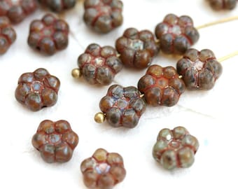 8mm Flower beads mix, Earthy Colored Picasso czech pressed glass beads, brown daisy flower - 20pc - 2951