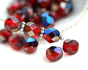 6mm Dark Siam Red beads with Blue luster, Fire polished round beads, czech glass spacers, faceted - 1845