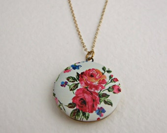 Rose Locket .. round locket, floral, brass locket, colourful jewellery
