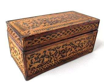 Antique Primitive Fretwork Wood Box, Document Box, Keepsake Box, AAFA, Folk Art, hand made