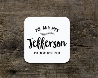 Custom Wedding Coasters, Wedding Reception Coasters, Disposable Drink Coasters, Custom Paper Coasters, Wedding Bar Favors, Anniversary Party