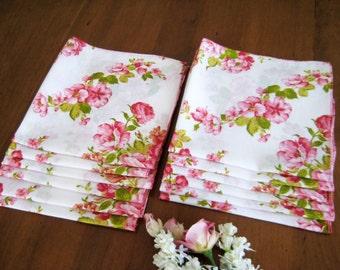 """Vintage Dinner Napkins, Set of 12, Pink Floral Print, White Cotton Linen Blend, Semi Sheer 18"""" x 18"""""""
