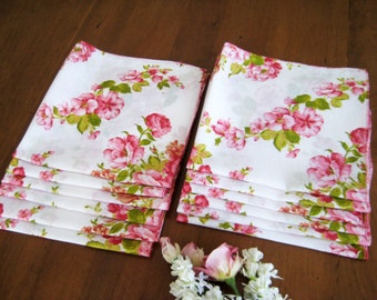 "12 Vintage Dinner Napkins, Pink Flowers on White Linen Cotton Blend, Semi Sheer 18"" x 18"""