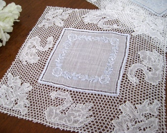 12 Vintage Cocktail Napkins, Flanders Lace Swans, White Organdy Linen, Hand Embroidered NEAR MINT