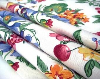 "4 Vintage Napkins, Cherries, Florals Print, Heavy Cotton, Unused New Old Stock, Pristine    16.5"" x 16.5"""