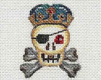 Hand Painted Halloween Needlepoint Canvas - Skull and Crossbones