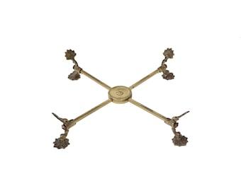 Vintage Brass Adjustable Plate Dish Pot Cross Holder