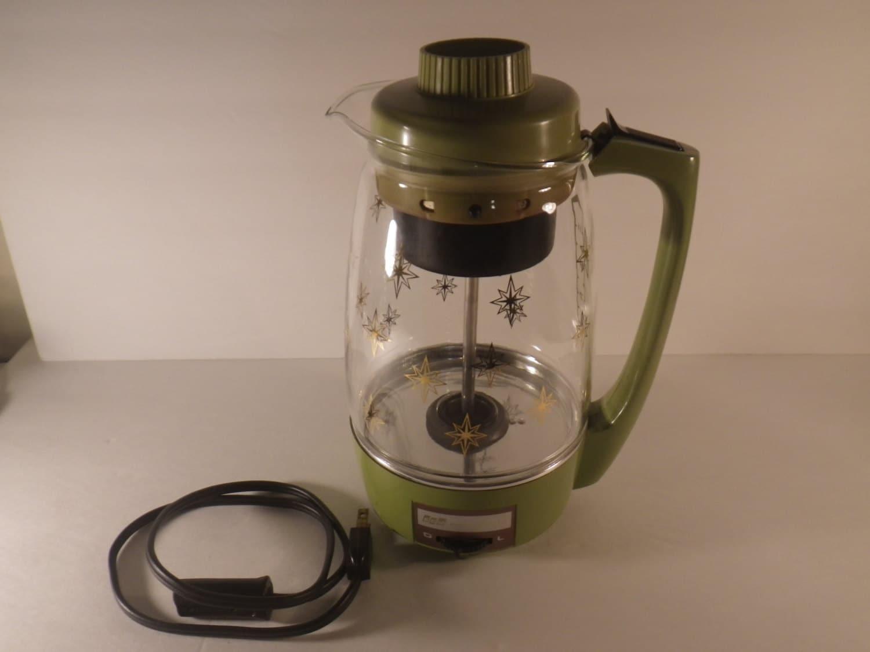 vintage Proctor Silex Glass Percolator Avocado Green