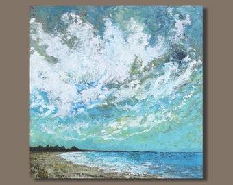 FREE SHIP large abstract painting, turquoise blue, abstract ocean painting, square beach landscape, wall art on canvas, original painting