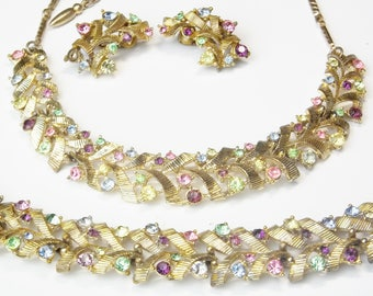 Mid Century Signed Coro Vintage Colorful Rhinestones Textured Gold 1950's Hollywood Glamour Costume Jewelry Necklace Bracelet Earrings Gift