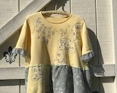 Reserved...XXL yellow gray embelished sequined sweater, Upcycled clothing