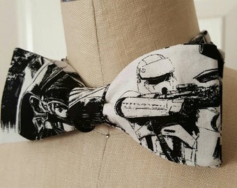 Self-tie bow tie   Star wars  Black and white Dark Vader and Stormtroopers graphic   adjustable adult bowtie