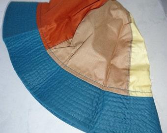 Vintage Totes Rain Hat Women's Lightweight Rainhat Green Rust Beige Polyester Cotton