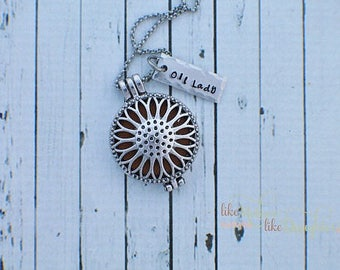 Hand Stamped Aromatherapy Essential Oil Diffuser Locket Pendants - Sunflower, Heart Flower - Essential Oil Diffuser Necklace Valentine's Day