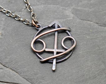 Cancer Sagittarius necklace in oxidised copper