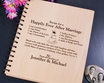 Engraved Happily Ever After Recipe Card Holder Book Great Wedding Gift
