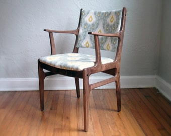 Walnut Chair in Gray and Yellow Ikat Fabric - Midcentury Inspired Design