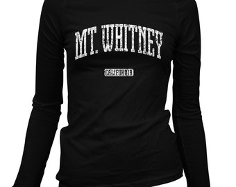 Women's Mt. Whitney California Long Sleeve Tee - S M L XL 2x - Ladies' T-shirt, Gift For Her, Mount Whitney Shirt, Mountain Climbing, Hiking