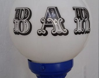 1980s Bar Lamp, Lake Tahoe Rare BAR lamp, Globe Bar Light, Skiing Bar Lamp