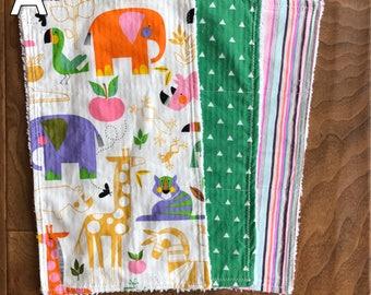 Baby Burp Cloth Bundle - Zoo Bisou Style 3
