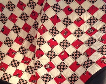 """HOLIDAY SALE A Cowboy Themed 35.5"""" X 36.5"""" Postage Stamp Quilt In Red, Black and Taupe"""