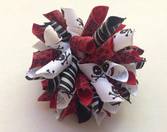 """Girls Hair Accessories - Korker Bow Hair Clips - Black Red Korker Bow - 2 1/2"""" Korker Bow - Pirate Korker Bow - Hair Clippie - Black Red Bow"""
